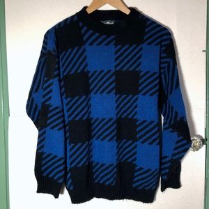 VINTAGE Black Blue Plaid Checkered Mock Sweater